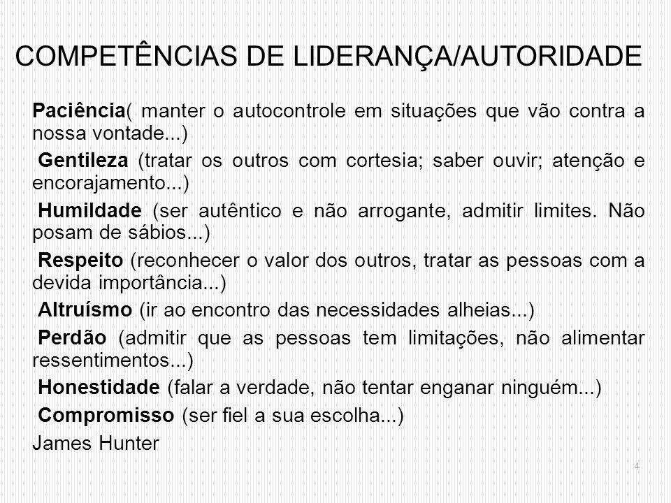 COMPETÊNCIAS DE LIDERANÇA/AUTORIDADE
