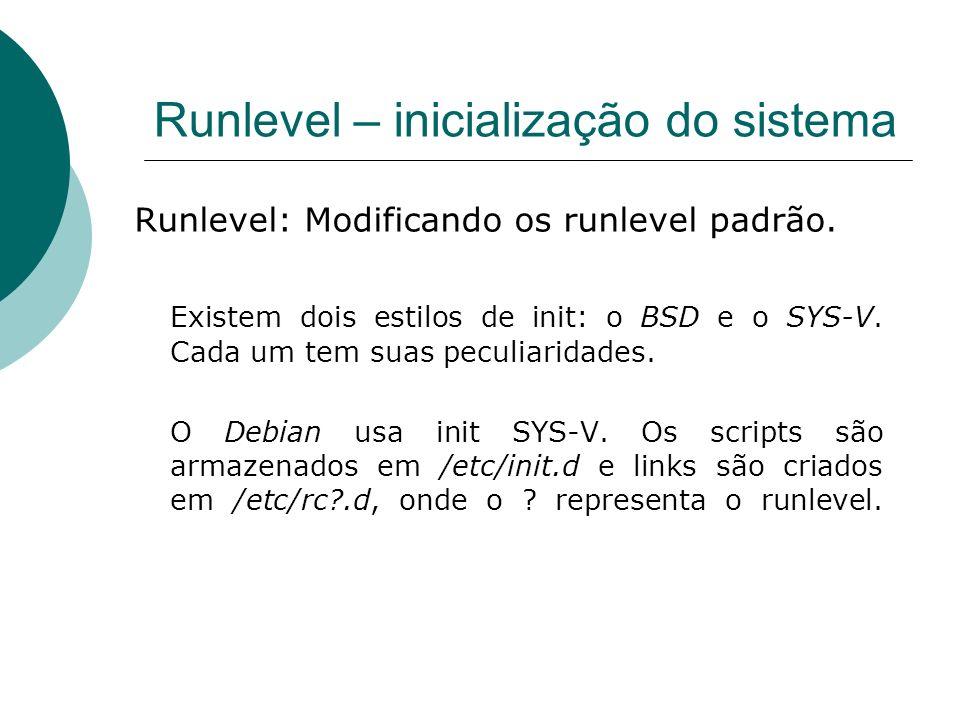 Runlevel – inicialização do sistema