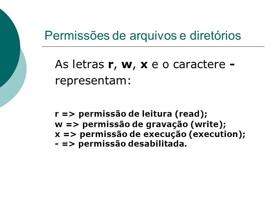 Permissões de arquivos e diretórios