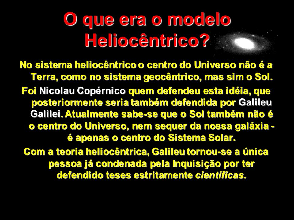 O que era o modelo Heliocêntrico