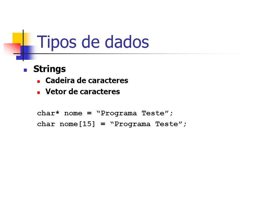 Tipos de dados Strings Cadeira de caracteres Vetor de caracteres