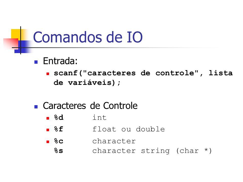 Comandos de IO Entrada: Caracteres de Controle