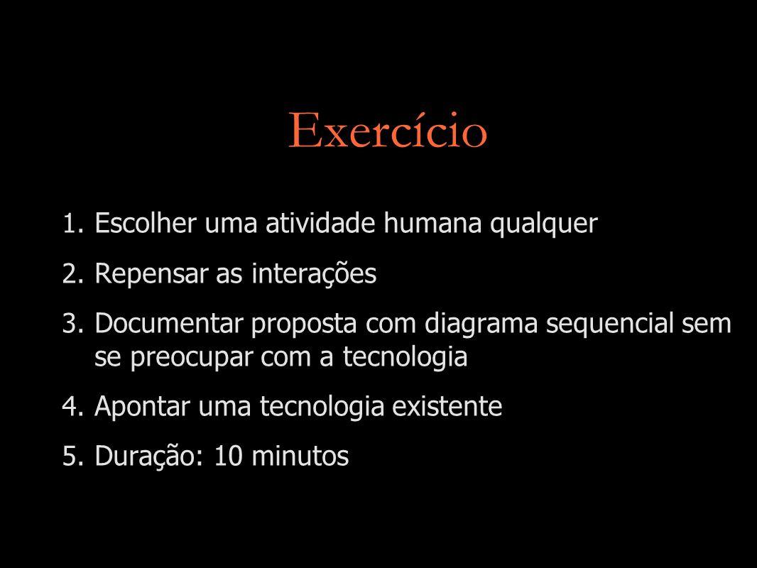 Exercício Escolher uma atividade humana qualquer