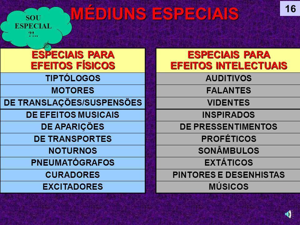 MÉDIUNS ESPECIAIS 16 ESPECIAIS PARA EFEITOS FÍSICOS