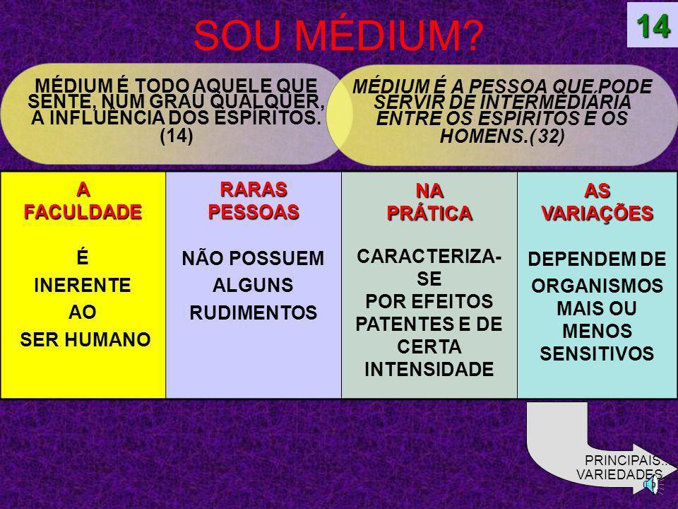 14 SOU MÉDIUM MÉDIUM É TODO AQUELE QUE SENTE, NUM GRAU QUALQUER, A INFLUÊNCIA DOS ESPÍRITOS. (14)