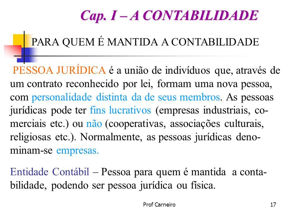 Cap. I – A CONTABILIDADE PARA QUEM É MANTIDA A CONTABILIDADE