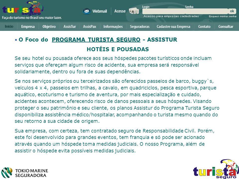 HOTÉIS E POUSADAS O Foco do PROGRAMA TURISTA SEGURO - ASSISTUR