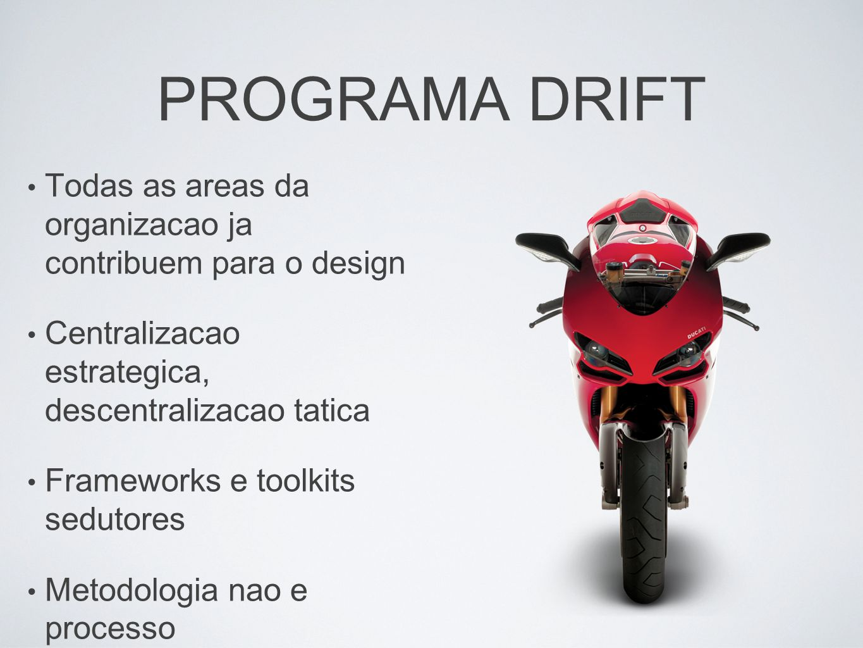 PROGRAMA DRIFT Todas as areas da organizacao ja contribuem para o design. Centralizacao estrategica, descentralizacao tatica.