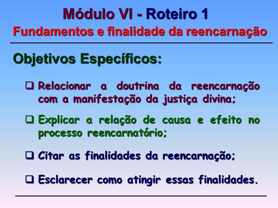 Explicar a relação de causa e efeito no processo reencarnatório;