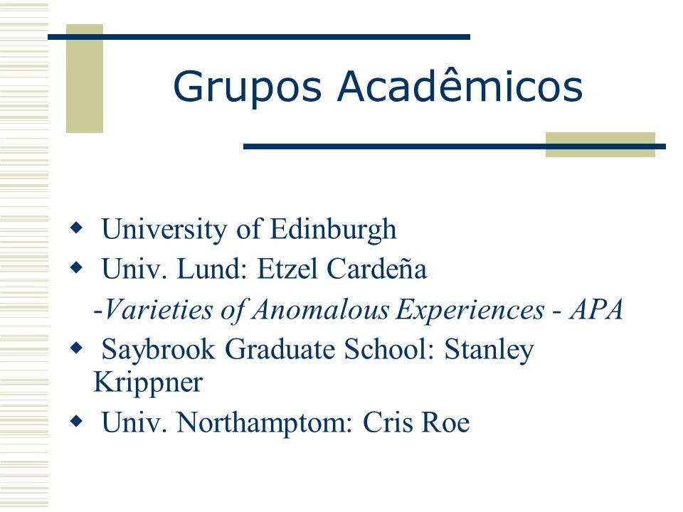 Grupos Acadêmicos University of Edinburgh Univ. Lund: Etzel Cardeña