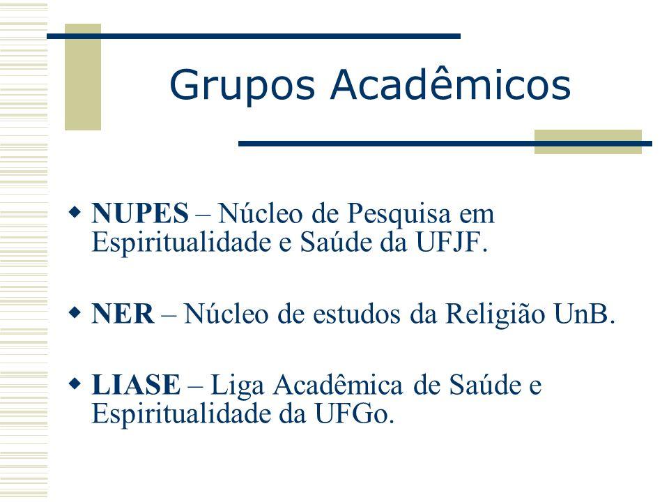 Grupos Acadêmicos NUPES – Núcleo de Pesquisa em Espiritualidade e Saúde da UFJF. NER – Núcleo de estudos da Religião UnB.