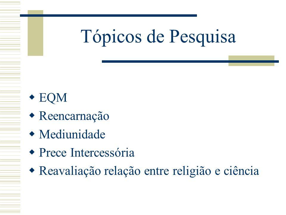 Tópicos de Pesquisa EQM Reencarnação Mediunidade Prece Intercessória