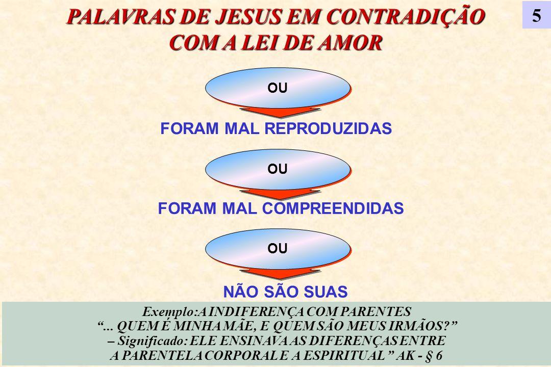 PALAVRAS DE JESUS EM CONTRADIÇÃO COM A LEI DE AMOR
