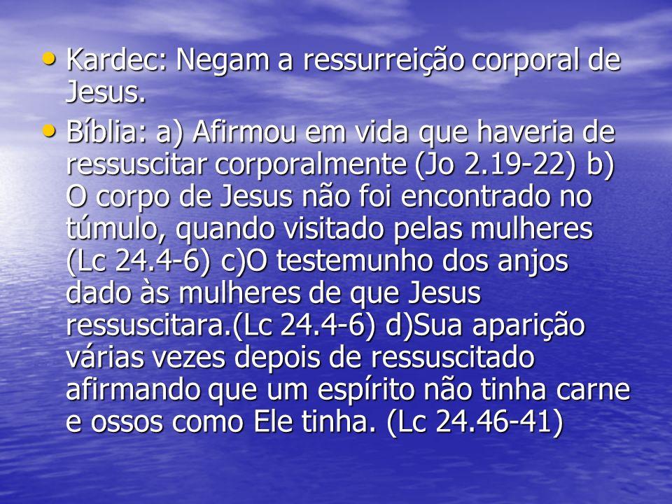 Kardec: Negam a ressurreição corporal de Jesus.