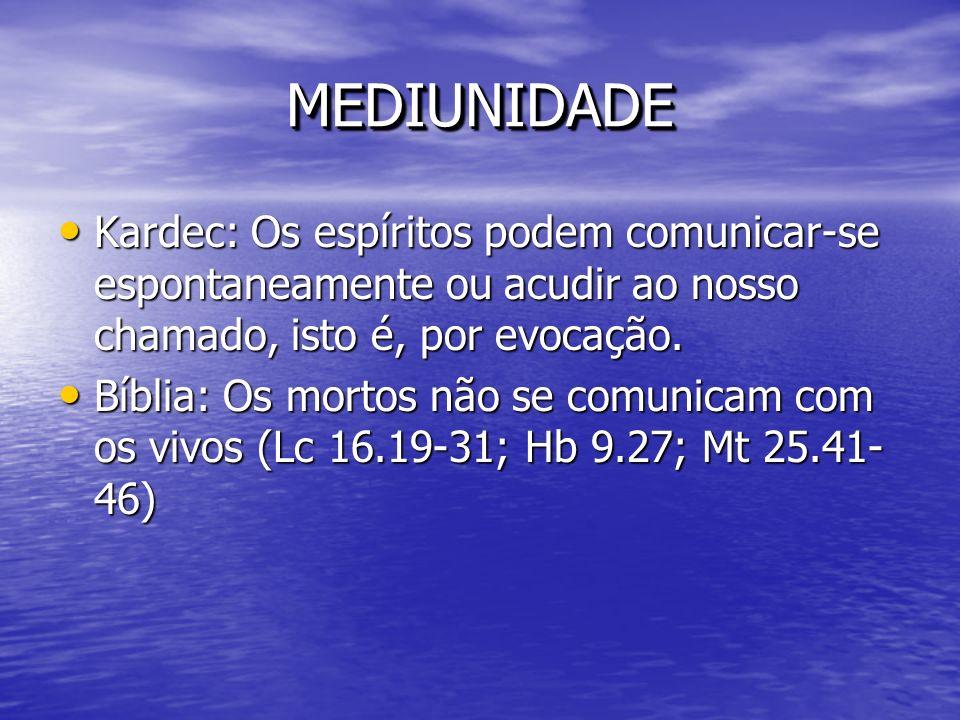 MEDIUNIDADE Kardec: Os espíritos podem comunicar-se espontaneamente ou acudir ao nosso chamado, isto é, por evocação.
