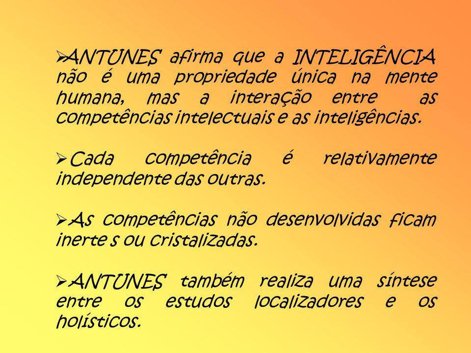 ANTUNES afirma que a INTELIGÊNCIA não é uma propriedade única na mente humana, mas a interação entre as competências intelectuais e as inteligências.