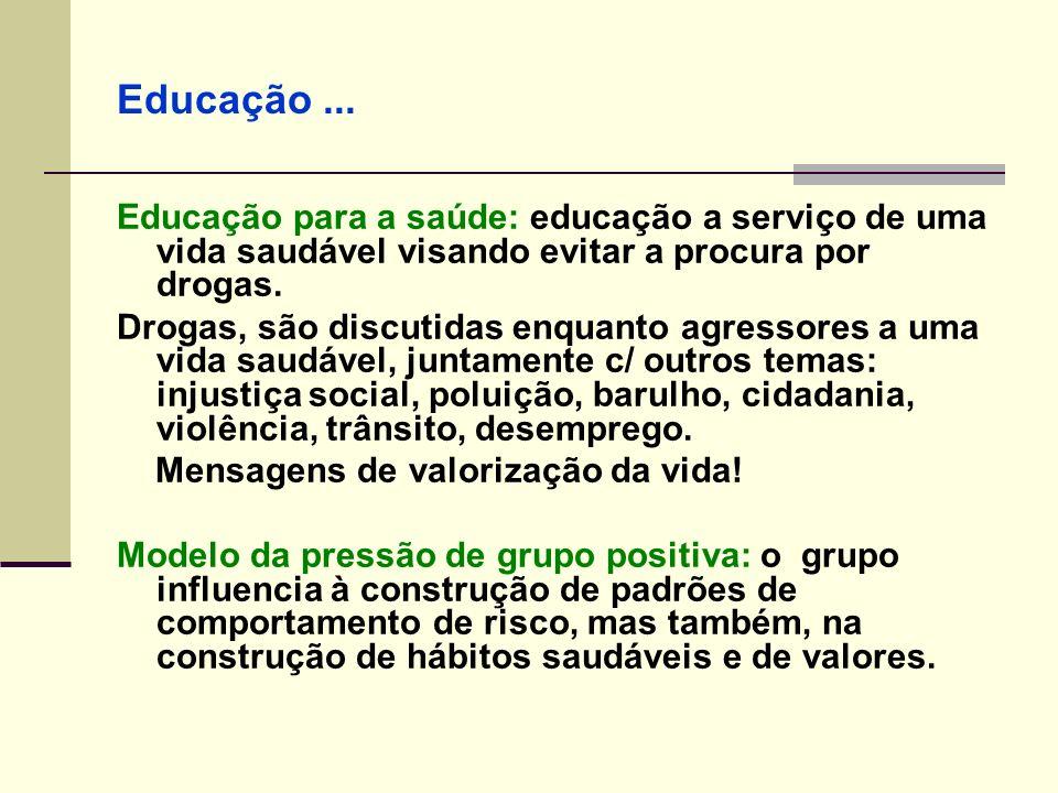 Educação ... Educação para a saúde: educação a serviço de uma vida saudável visando evitar a procura por drogas.