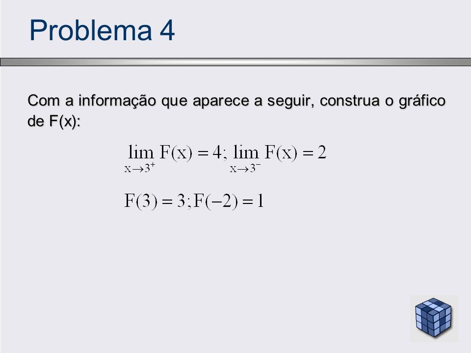 Problema 4 Com a informação que aparece a seguir, construa o gráfico de F(x):