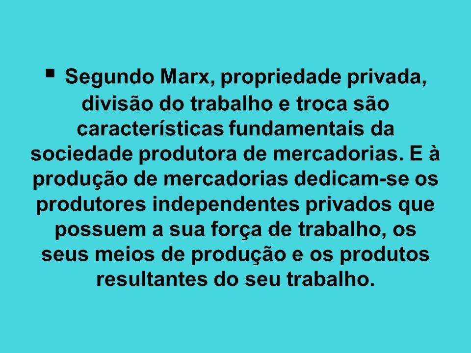 Segundo Marx, propriedade privada, divisão do trabalho e troca são características fundamentais da sociedade produtora de mercadorias.