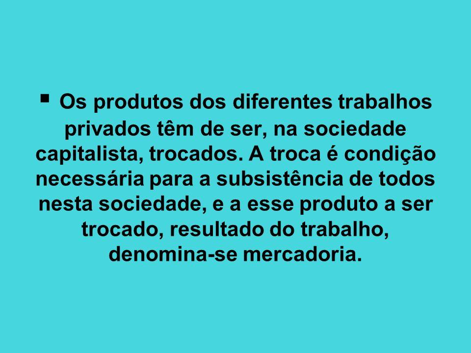 Os produtos dos diferentes trabalhos privados têm de ser, na sociedade capitalista, trocados.
