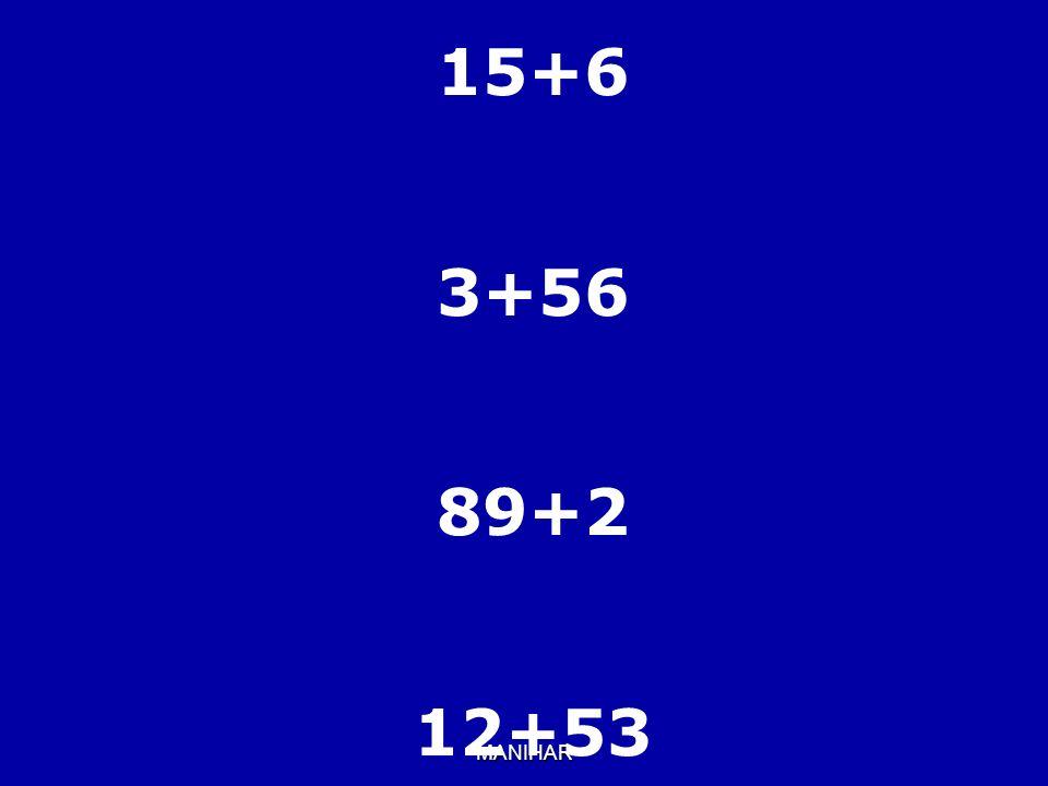 15+6 3+56 89+2 12+53 MANIHAR