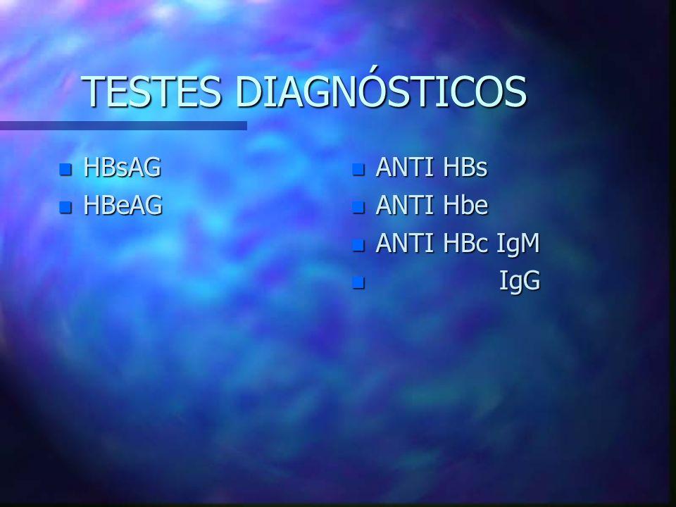 TESTES DIAGNÓSTICOS HBsAG HBeAG ANTI HBs ANTI Hbe ANTI HBc IgM IgG