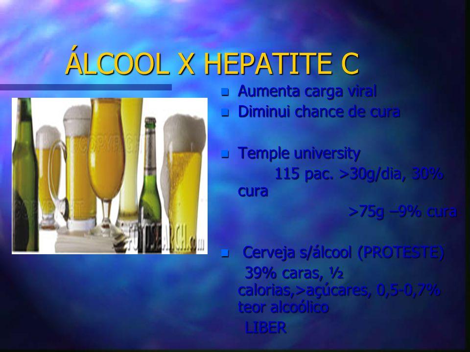ÁLCOOL X HEPATITE C Aumenta carga viral Diminui chance de cura