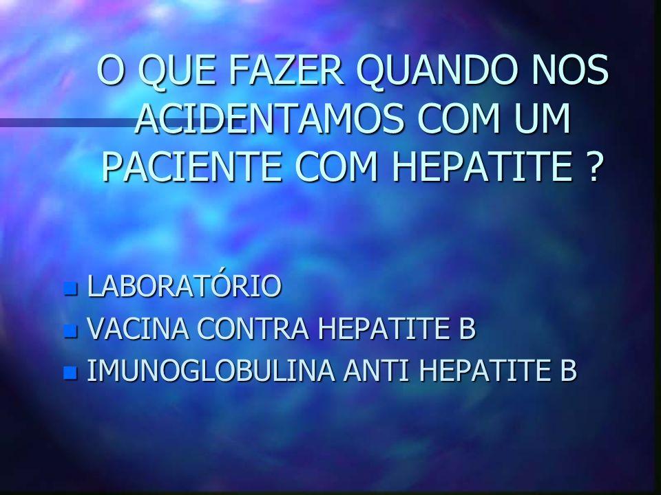 O QUE FAZER QUANDO NOS ACIDENTAMOS COM UM PACIENTE COM HEPATITE