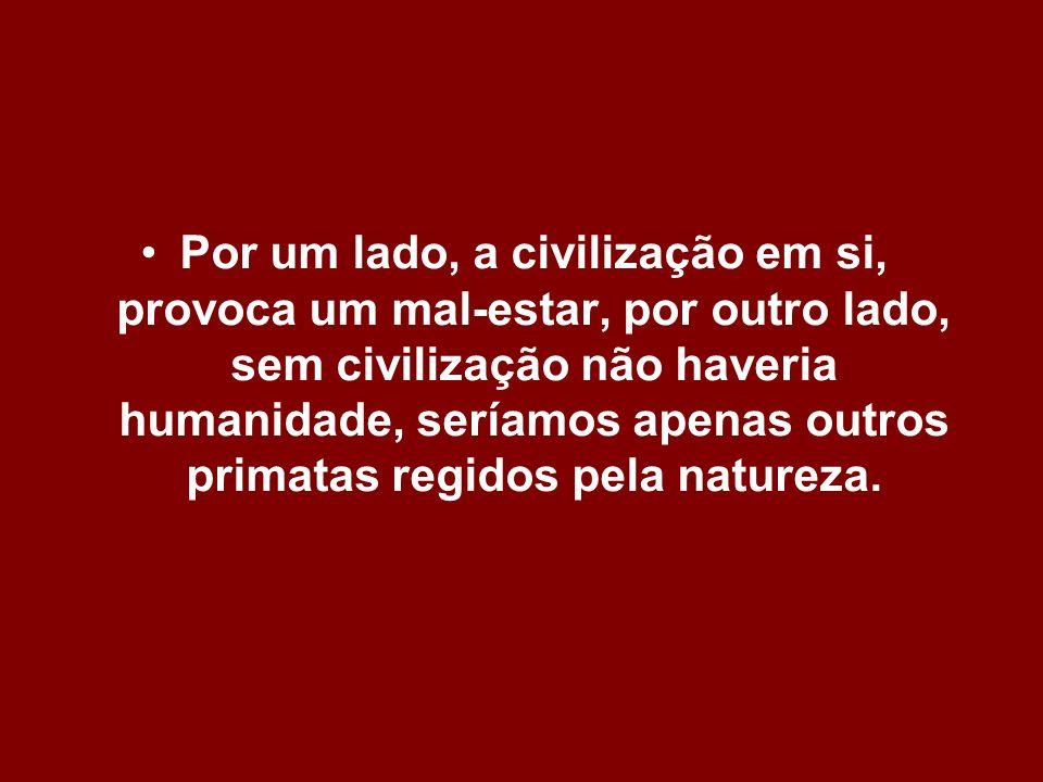 Por um lado, a civilização em si, provoca um mal-estar, por outro lado, sem civilização não haveria humanidade, seríamos apenas outros primatas regidos pela natureza.