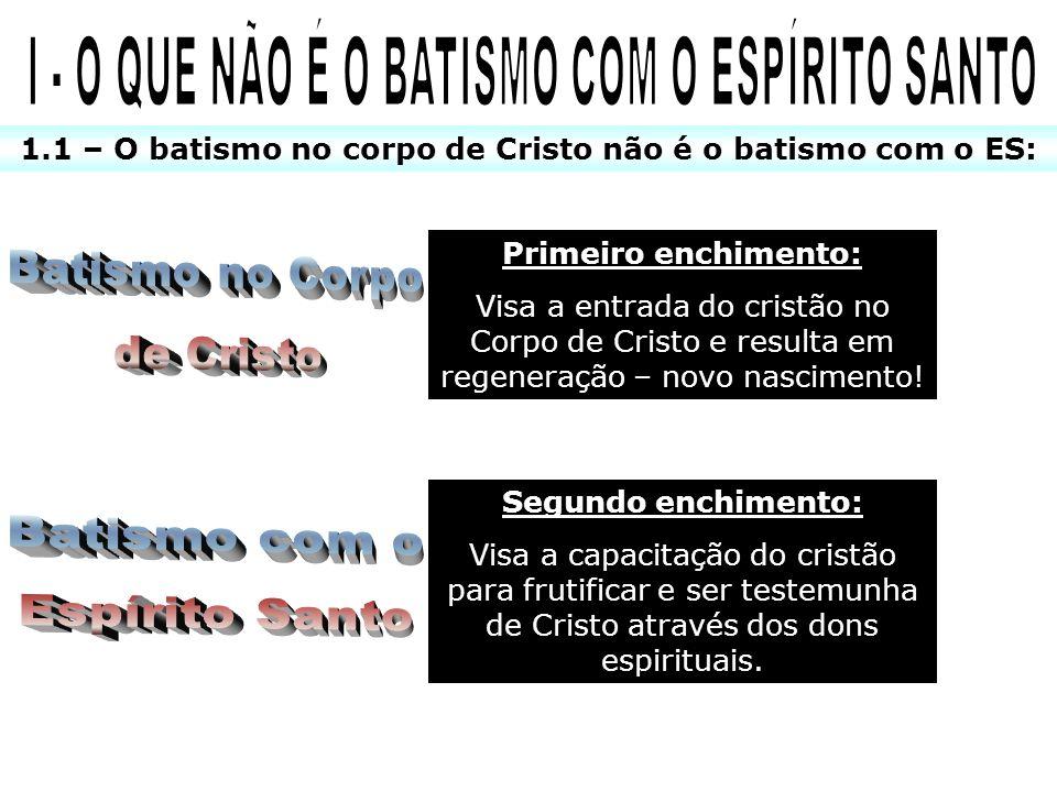 I - O QUE NÃO É O BATISMO COM O ESPÍRITO SANTO