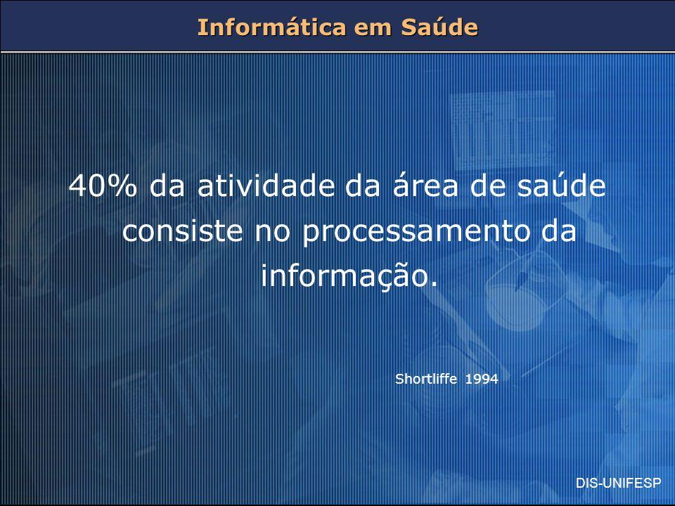 Informática em Saúde 40% da atividade da área de saúde consiste no processamento da informação.