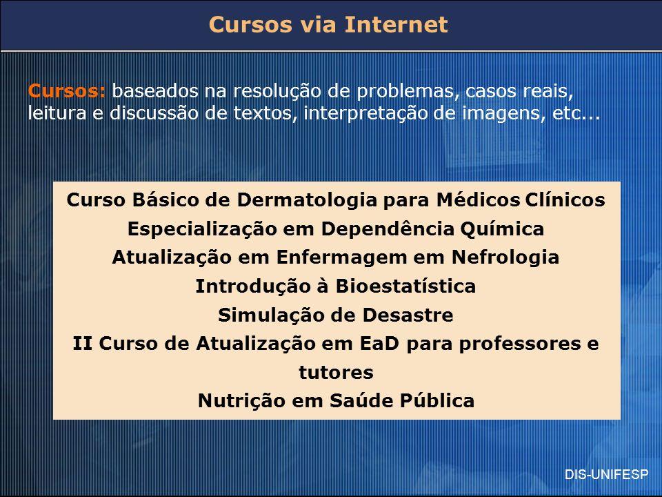 Cursos via Internet Cursos: baseados na resolução de problemas, casos reais, leitura e discussão de textos, interpretação de imagens, etc...
