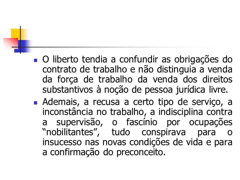 O liberto tendia a confundir as obrigações do contrato de trabalho e não distinguia a venda da força de trabalho da venda dos direitos substantivos à noção de pessoa jurídica livre.