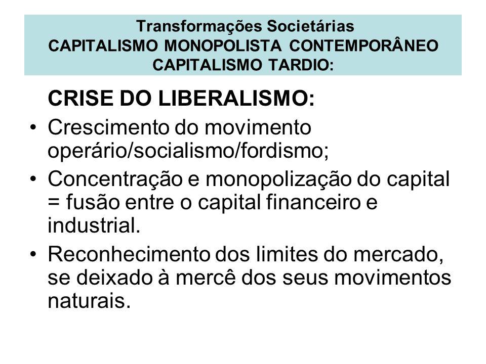 Crescimento do movimento operário/socialismo/fordismo;