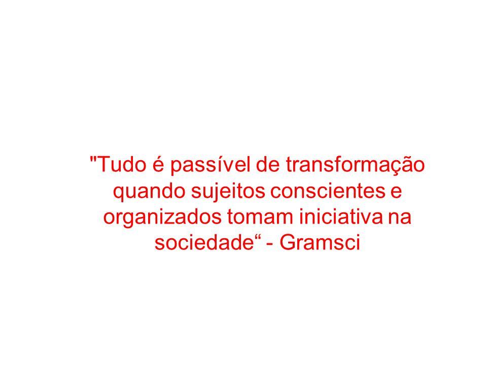 Tudo é passível de transformação quando sujeitos conscientes e organizados tomam iniciativa na sociedade - Gramsci