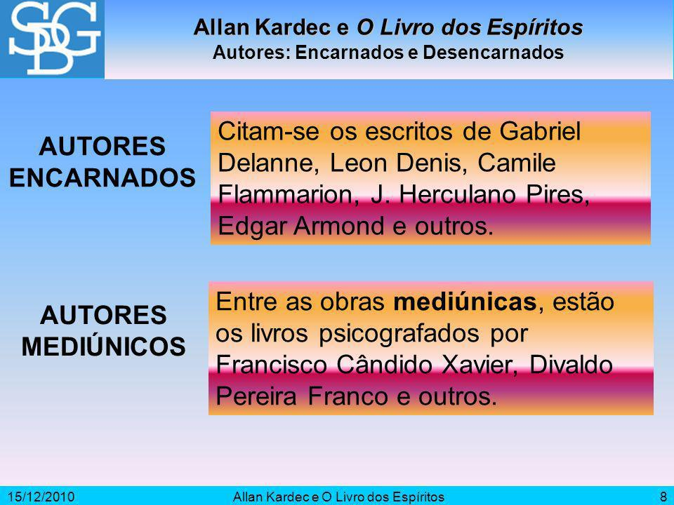 AUTORES ENCARNADOS AUTORES MEDIÚNICOS