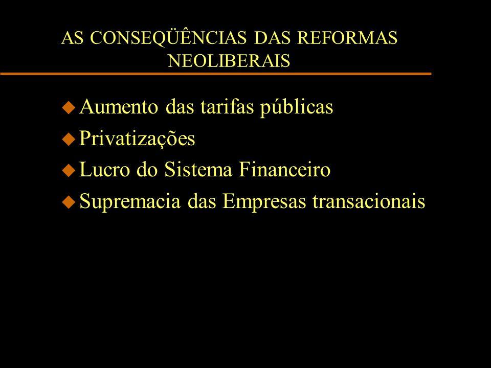 AS CONSEQÜÊNCIAS DAS REFORMAS NEOLIBERAIS