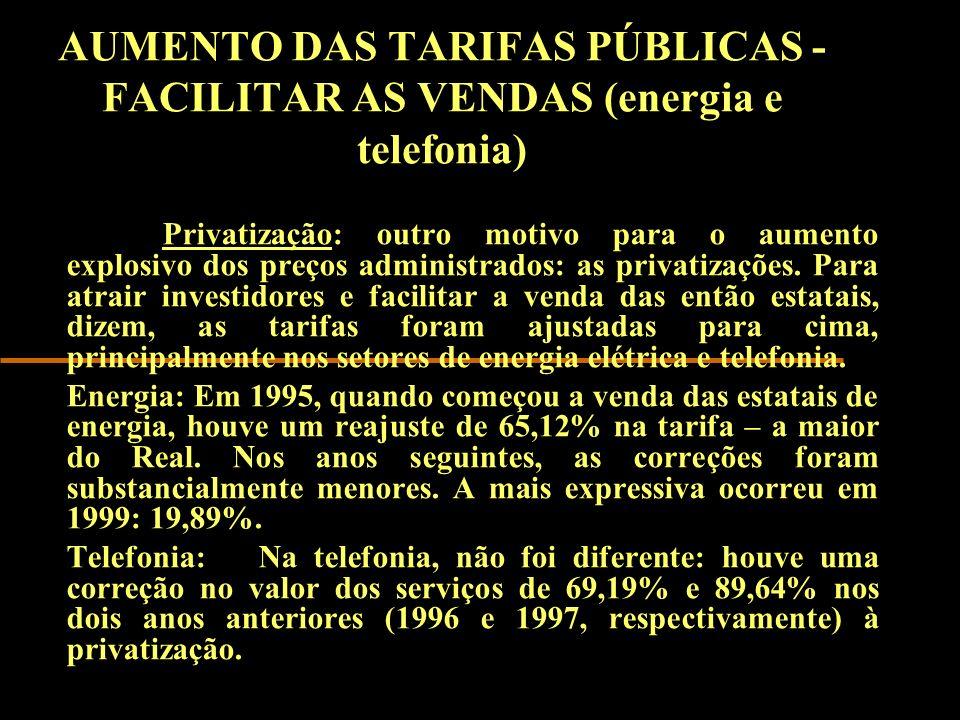 AUMENTO DAS TARIFAS PÚBLICAS - FACILITAR AS VENDAS (energia e telefonia)