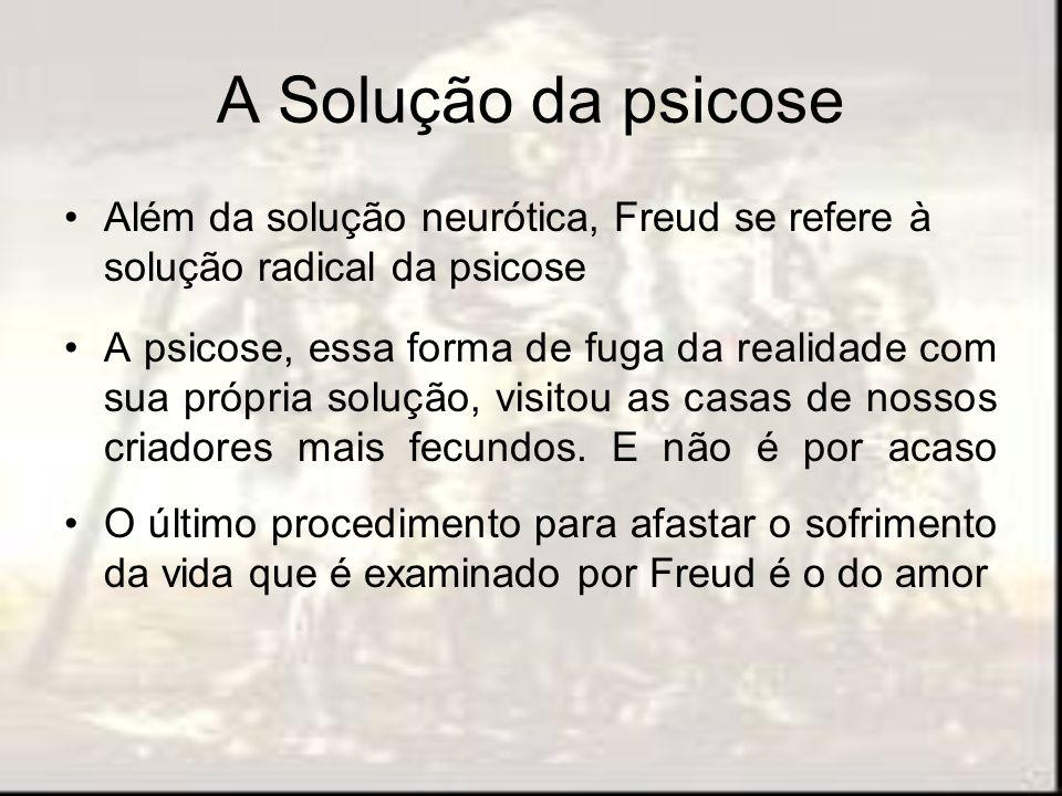 A Solução da psicose Além da solução neurótica, Freud se refere à solução radical da psicose.