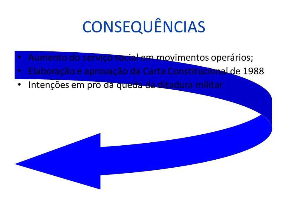 CONSEQUÊNCIAS Aumento do serviço social em movimentos operários;
