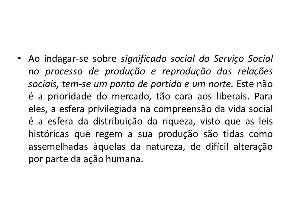 Ao indagar-se sobre significado social do Serviço Social no processo de produção e reprodução das relações sociais, tem-se um ponto de partida e um norte.