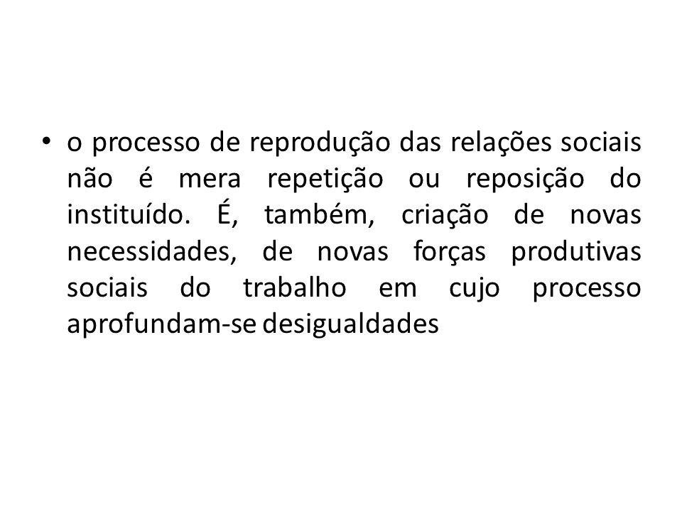 o processo de reprodução das relações sociais não é mera repetição ou reposição do instituído.