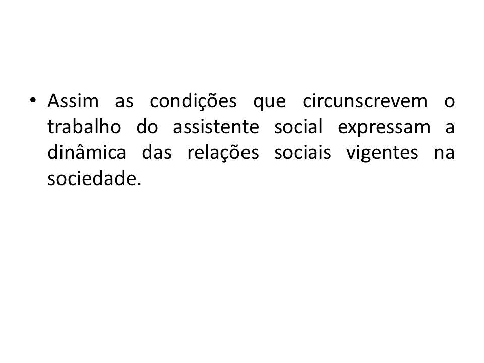 Assim as condições que circunscrevem o trabalho do assistente social expressam a dinâmica das relações sociais vigentes na sociedade.
