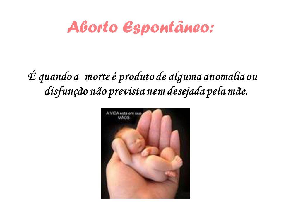 Aborto Espontâneo:É quando a morte é produto de alguma anomalia ou disfunção não prevista nem desejada pela mãe.