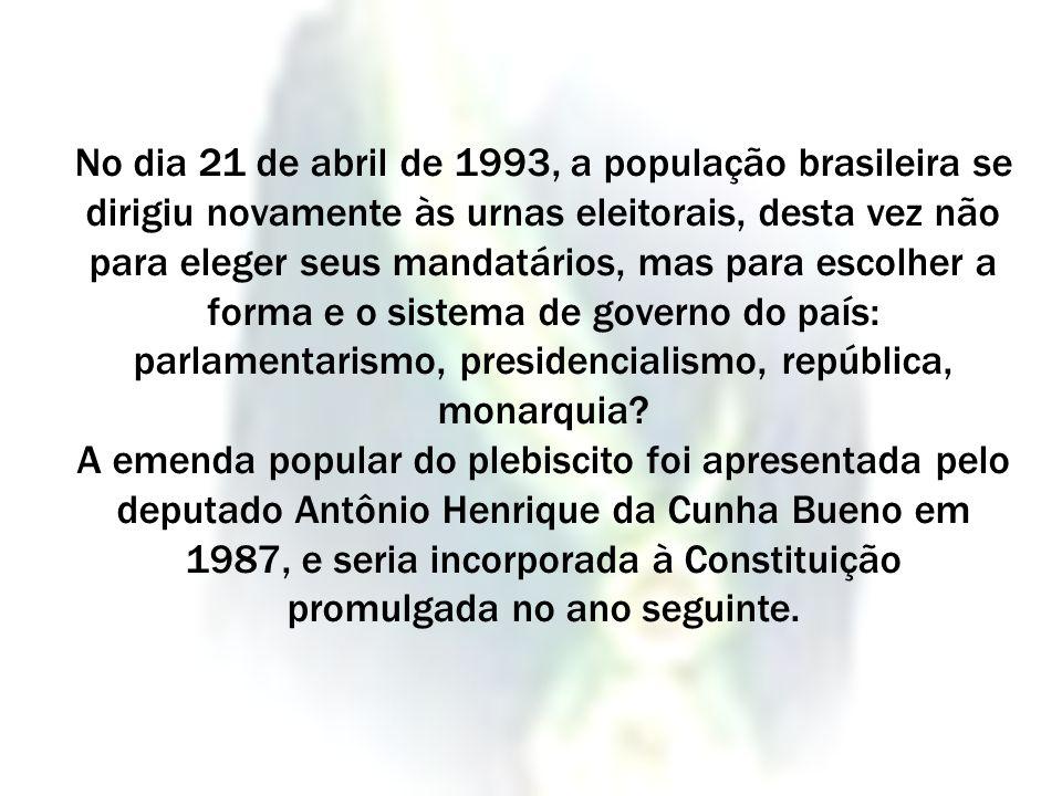 No dia 21 de abril de 1993, a população brasileira se dirigiu novamente às urnas eleitorais, desta vez não para eleger seus mandatários, mas para escolher a forma e o sistema de governo do país: parlamentarismo, presidencialismo, república, monarquia