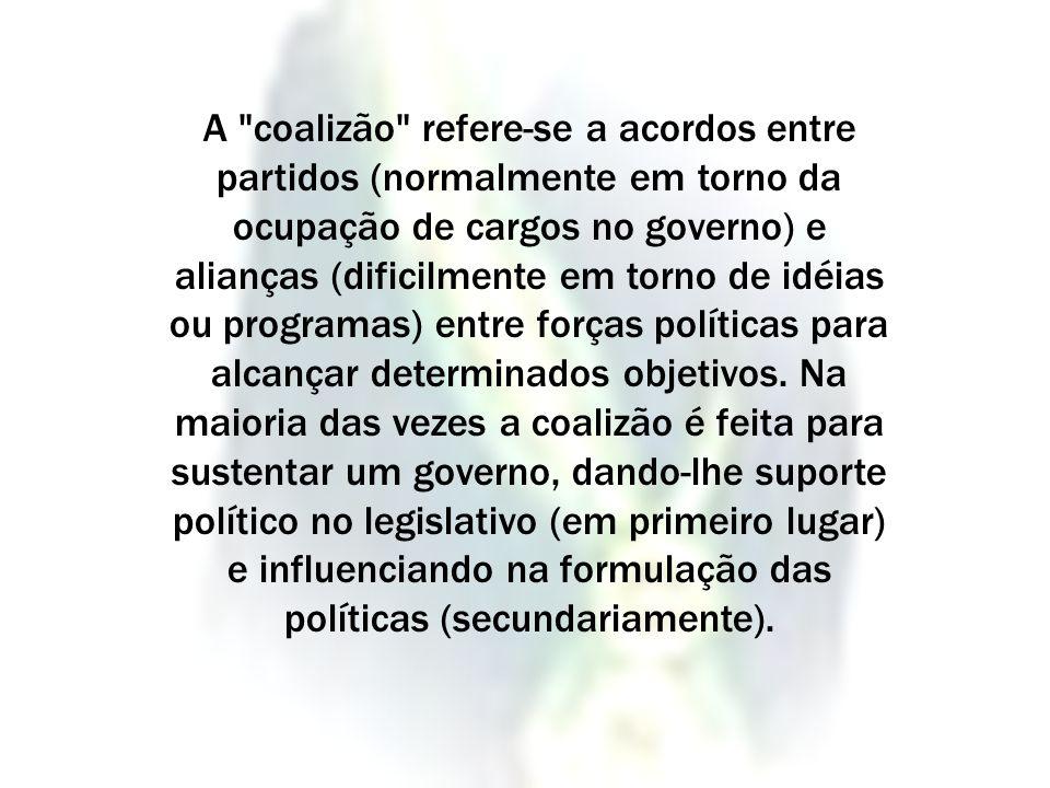 A coalizão refere-se a acordos entre partidos (normalmente em torno da ocupação de cargos no governo) e alianças (dificilmente em torno de idéias ou programas) entre forças políticas para alcançar determinados objetivos.