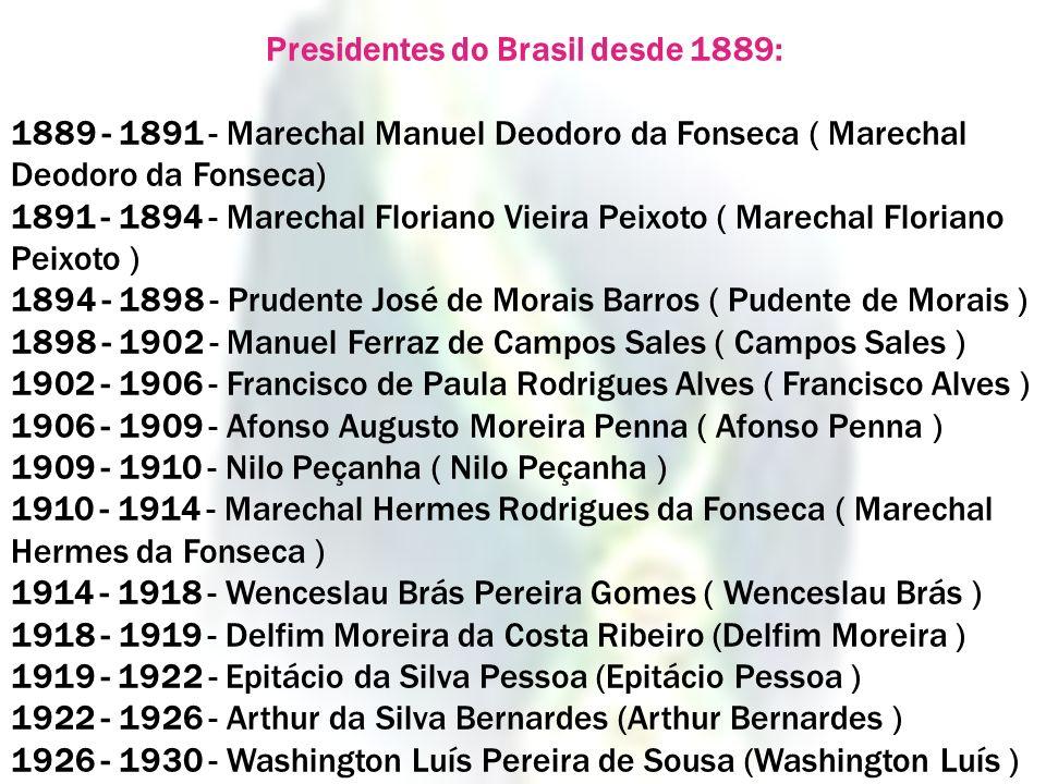 Presidentes do Brasil desde 1889: