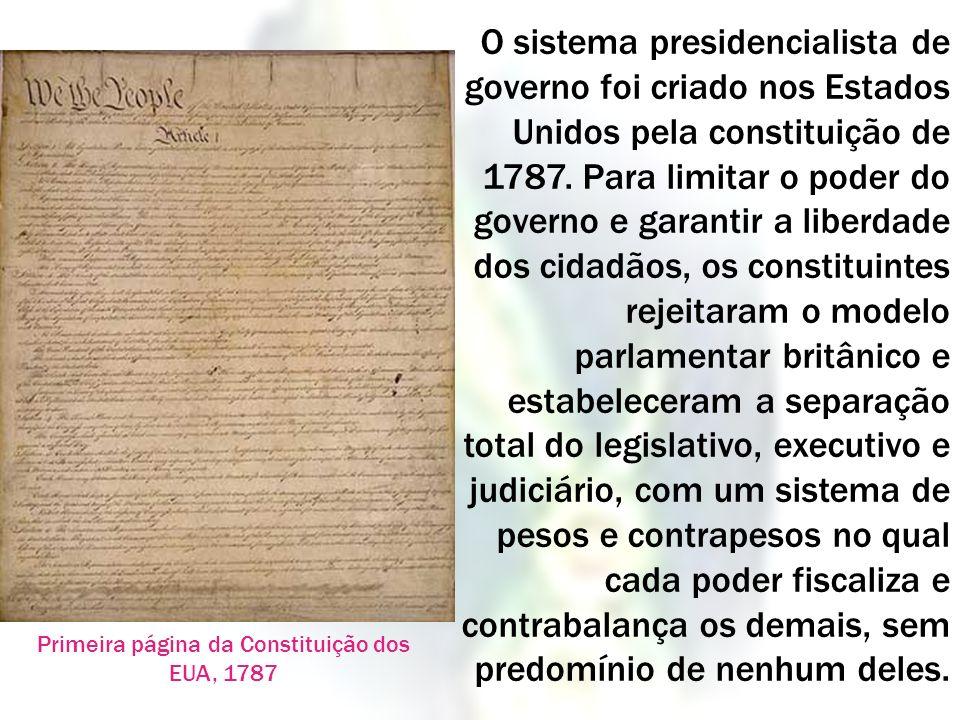 Primeira página da Constituição dos EUA, 1787