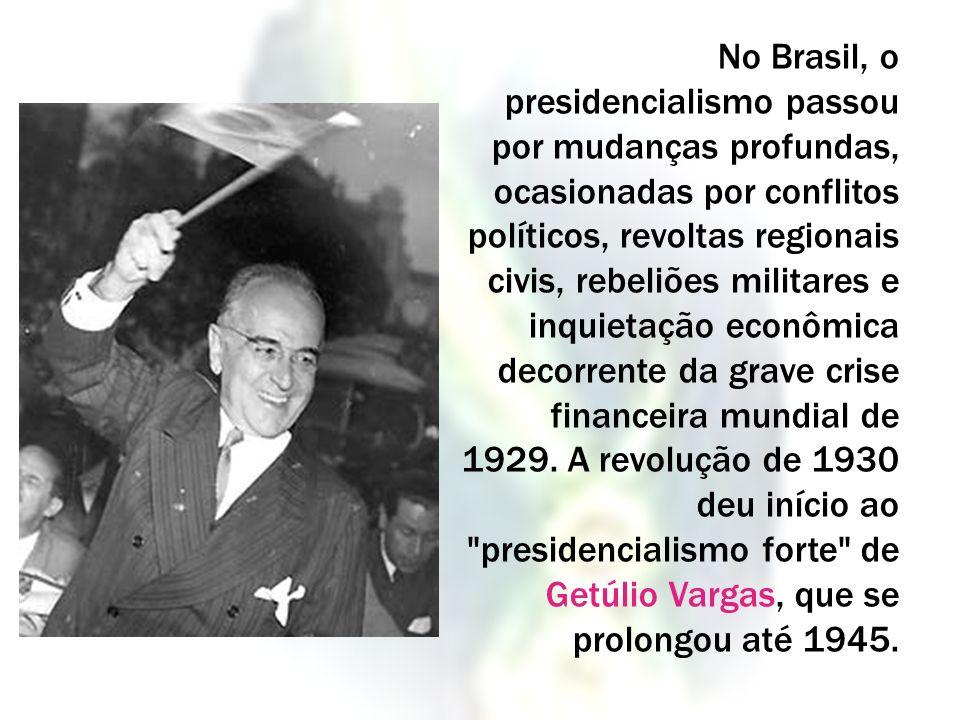No Brasil, o presidencialismo passou por mudanças profundas, ocasionadas por conflitos políticos, revoltas regionais civis, rebeliões militares e inquietação econômica decorrente da grave crise financeira mundial de 1929.