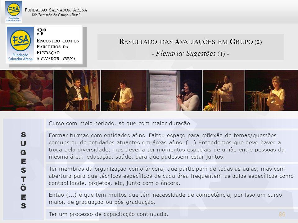 3º RESULTADO DAS AVALIAÇÕES EM GRUPO (2) - Plenária: Sugestões (1) - S